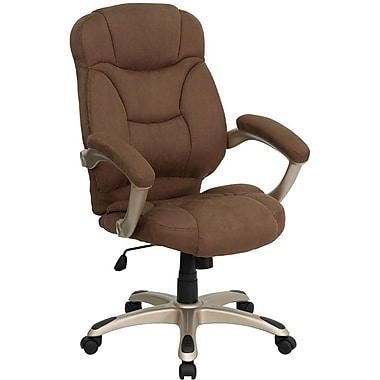 Flash Furniture High-Back Microfiber Exec Chair, Fixed Arms, Brown