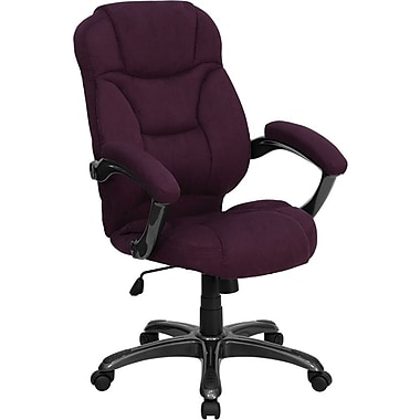 Flash Furniture GO725GRPE Microfiber High-Back Exec Chair with Fixed Arms, Grape