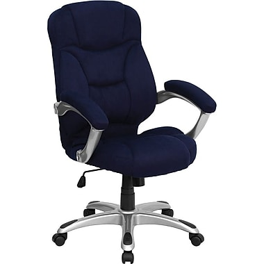 Flash Furniture GO725NVY Microfiber High-Back Exec Chair with Fixed Arms, Navy Blue