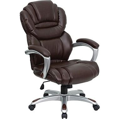 Flash Furniture GO901BN Leather Soft High-Back Exec Chair with Fixed Arms, Brown