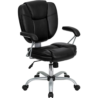Flash Furniture Mid-Back Leather Task Chair, Fixed Arm, Black
