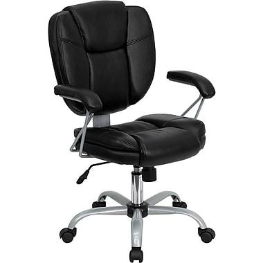 Flash Furniture – Chaise de travail en cuir à dossier mi-dos, accoudoirs fixes, noir