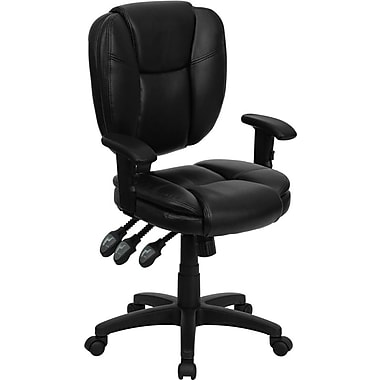 Flash Furniture GO930FBKLEAA Leather Soft Mid-Back Task Chair with Adjustable Arms, Black