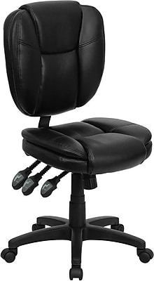 Flash Furniture LeatherSoft Leather Computer and Desk Office Chair, Armless, Black (GO930FBKLEA) 201044