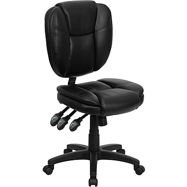 Flash Furniture GO-930F-BK-LEA-GG Leather Soft Mid-Back Armless Task Chair, Black