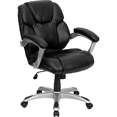 Flash Furniture GO931HMIDBK Leather Soft Mid-Back Task Chair with Fixed Arms, Black