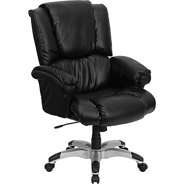 Flash Furniture High-Back Leather Soft Exec Chair, Fixed Arms, Black (GO958BK)