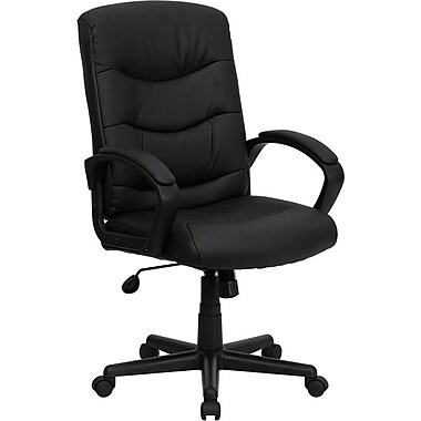 Flash Furniture Mid-Back Leather Soft Exec Chair, Fixed Arms, Black