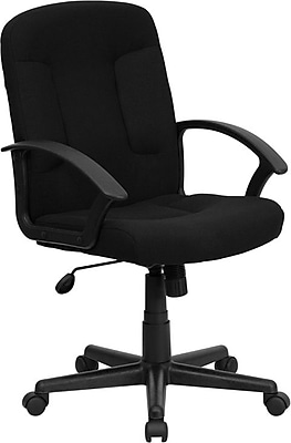 Flash Furniture GOST6BKFAB Fabric Mid-Back Executive Chair with Adjustable Arms, Black