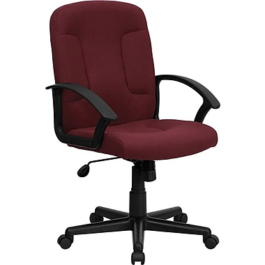 Flash Furniture GOST6BYFAB Fabric Mid-Back Task Chair with Fixed Arms, Burgundy