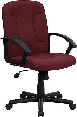 Flash Furniture Fabric Computer and Desk Office Chair, Fixed Arms, Burgundy (GOST6BYFAB)