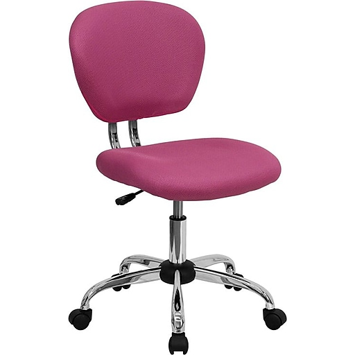 Flash Furniture Mid Back Mesh Task Chair With Chrome Base, Pink