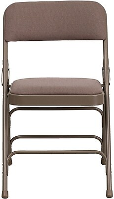 Flash Furniture HERCULES Series Curved Triple Braced & Quad Hinged Fabric Upholstered Metal Folding Chair, Beige, 80/Pack 201073
