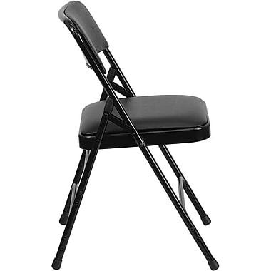 Flash Furniture HERCULES Series Curved Triple Braced & Quad Hinged Vinyl Upholstered Metal Folding Chair, Black, 80/Pack