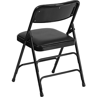 Flash Furniture Hercules Series Curved Triple Braced & Quad Hinged Vinyl Upholstered Metal Folding Chair, Black, 52/Pack