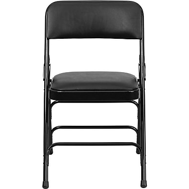 Flash Furniture Hercules Series Curved Triple Braced & Quad Hinged Vinyl Upholstered Metal Folding Chair, Black, 4/Pack