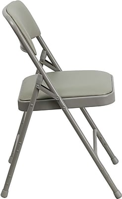 Flash Furniture HERCULES Series Curved Triple Braced & Quad Hinged Vinyl Upholstered Metal Folding Chair, Gray, 4/Pack