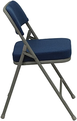 Flash Furniture HERCULES Series Premium Curved Triple Braced & Quad Hinged Fabric Upholstered Metal Folding Chair, Navy, 24/Pack