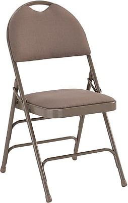 Flash Furniture HERCULES Series Extra Large Triple Braced Fabric Metal Folding Chair with Easy-Carry Handle, Beige, 32/Pack 201110