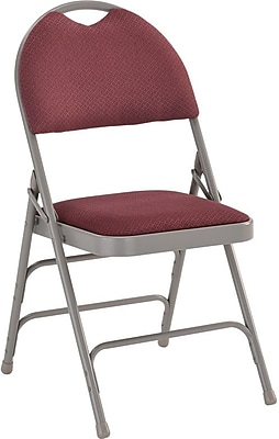 Flash Furniture HERCULES Series Extra Large Triple Braced Fabric Metal Folding Chair with Easy-Carry Handle, Burgundy, 12/Pack