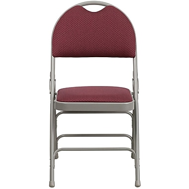 Flash Furniture HERCULES Series Extra Large Triple Braced Fabric Metal Folding Chair with Easy-Carry Handle, Burgundy, 4/Pack