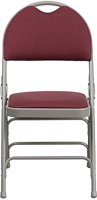 Flash Furniture HERCULES Series Extra Large Triple Braced Fabric Metal Folding Chair with Easy-Carry Handle, Burgundy, 32/Pack
