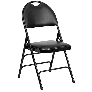 Flash Furniture Hercules Series Extra Large Triple Braced Vinyl Metal Folding Chair with Easy-Carry Handle, Black