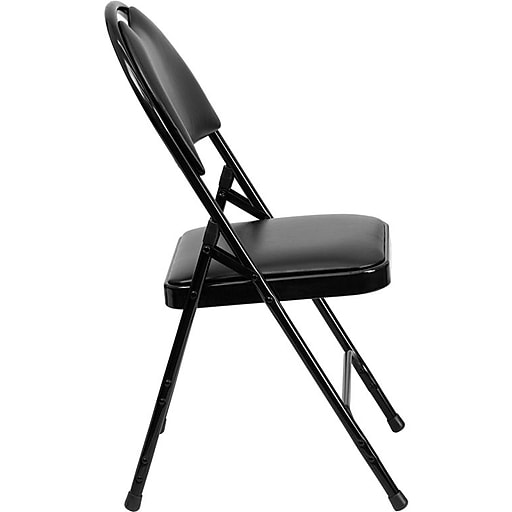 Flash Furniture HERCULES™ Triple Braced Vinyl Armless Folding Chair, Black, 4/Pack