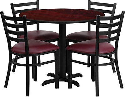 Flash Furniture 36'' Round Mahogany Laminate Table Set with X-Base and 4 Ladder Back Metal Chairs, Burgundy Vinyl Seat