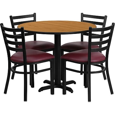 Flash Furniture 36'' Round Natural Laminate Table Set with X-Base and 4 Ladder Back Metal Chairs, Burgundy Vinyl Seat