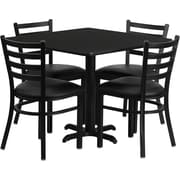 Flash Furniture 36'' Square Black Laminate Table Set with X-Base and 4 Ladder Back Metal Chairs, Black Vinyl Seat