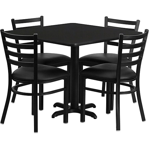 "Flash Furniture 36"" Square Black Laminate Table Set With 4 Ladder Back Metal Chairs, Black (HDBF1013)"
