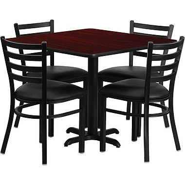 Flash Furniture 36'' Square Mahogany Laminate Table Set with X-Base and 4 Ladder Back Metal Chairs, Black Vinyl Seat