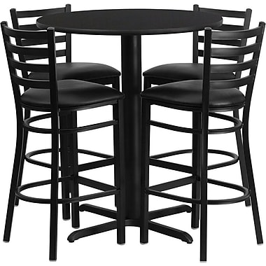 Flash Furniture 30'' Round Black Laminate Table Set with X-Base and 4 Ladder Back Metal Bar Stools, Black Vinyl Seat