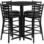 "Flash Furniture 30"" Black Laminate Table Sets With 4 Ladder Back Metal Bar Stools"