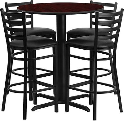 Flash Furniture 30'' Round Mahogany Laminate Table Set with X-Base and 4 Ladder Back Metal Bar Stools, Black Vinyl Seat