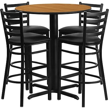Flash Furniture 30'' Round Natural Laminate Table Set with X-Base and 4 Ladder Back Metal Bar Stools, Black Vinyl Seat