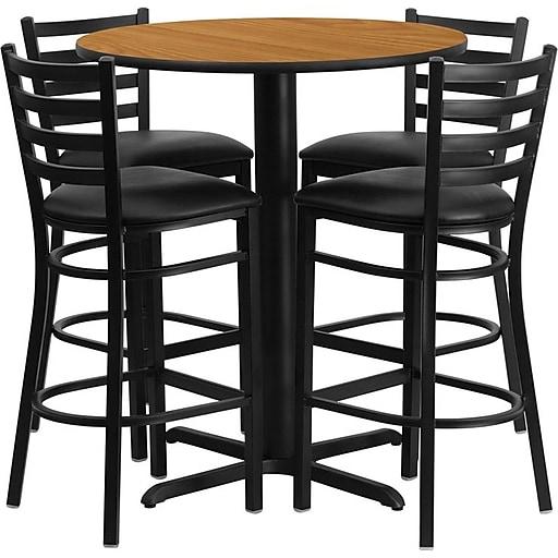 "Flash Furniture 30"" Natural Laminate Table Set With 4 Ladder Back Metal Bar Stools, Black (HDBF1023)"