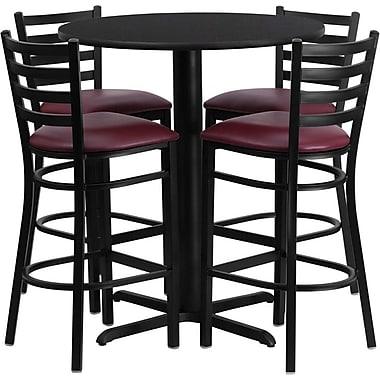 Flash Furniture – Ens. table ronde stratifiée, 30 po, noir, base en X, 4 tabourets à dossier échelle, siège bourgogne en vinyle