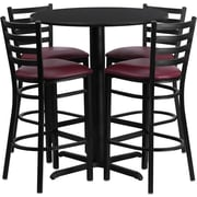 Flash Furniture 30'' Round Black Laminate Table Set with X-Base and 4 Ladder Back Metal Bar Stools, Burgundy Vinyl Seat