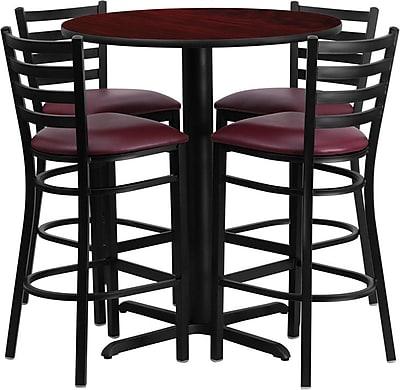 Flash Furniture 30 Round Mahogany Laminate Table Set With X Base