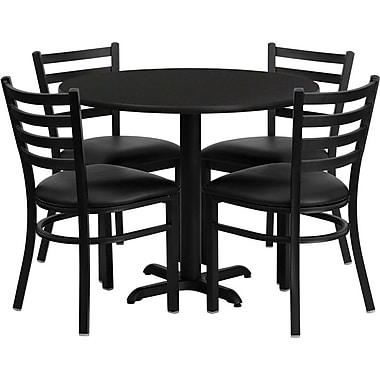 Flash Furniture 36'' Round Black Laminate Table Set with X-Base and 4 Ladder Back Metal Chairs, Black Vinyl Seat