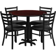 Flash Furniture 36'' Round Mahogany Laminate Table Set with X-Base and 4 Ladder Back Metal Chairs, Black Vinyl Seat