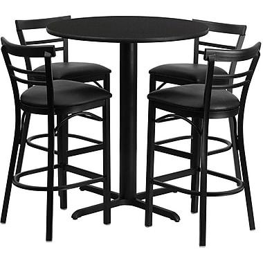 Flash Furniture – Table ronde de 24 po, stratifié noir, base en X et 4 tabourets en métal, dossier échelle, siège noir en vinyle