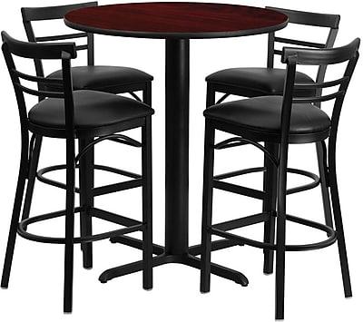 Flash Furniture 24'' Round Mahogany Laminate Table Set with X-Base and 4 Ladder Back Metal Bar Stools, Black Vinyl Seat