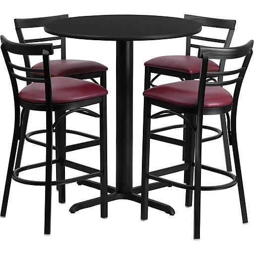 "Flash Furniture 24"" Black Laminate Table Set With 4 Ladder Back Metal Bar Stools, Burgundy (HDBF1037)"