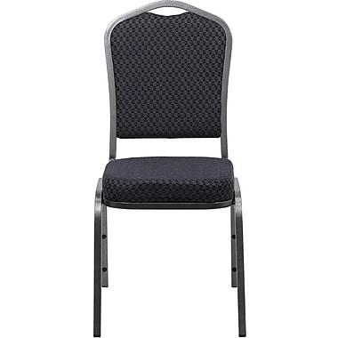 Flash Furniture HERCULES Series Crown Back Banquet Stack Chair with Black Pattern Fabric and Silver Vein Frame Finish, 40/Pack