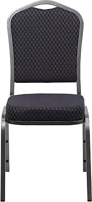 Flash Furniture HERCULES Series Crown Back Banquet Stack Chair with Black Pattern Fabric and Silver Vein Frame Finish, 10/Pack