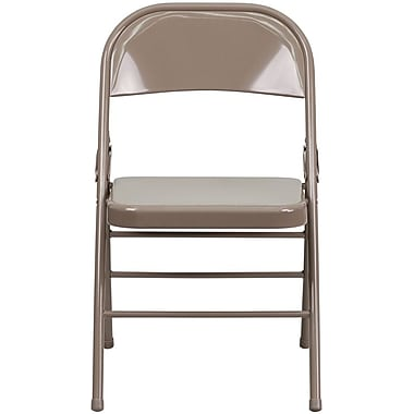 Flash Furniture HERCULES Series Triple Braced & Quad Hinged Metal Folding Chair, Beige, 32/Pack