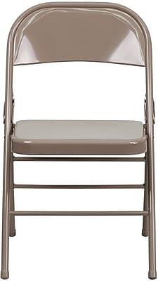 Flash Furniture HERCULES Series Triple Braced & Quad Hinged Metal Folding Chair, Beige, 52/Pack